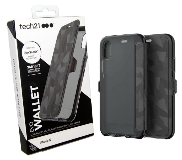 on sale d7b35 65993 tech21 EVO Wallet Case for iPhone X Black T21-5860 Card Storage