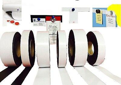 Magnetband Magn Meterware! Ferroband selbstklebend 18mm x 0,6mm Weiß Glänzend