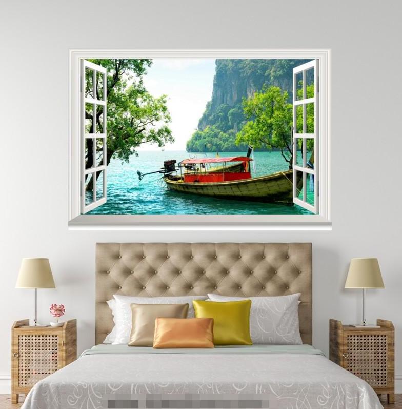 3D Boat Grün Tree 401 Open Windows Mural Wall Print Decal Deco AJ Wallpaper Ivy