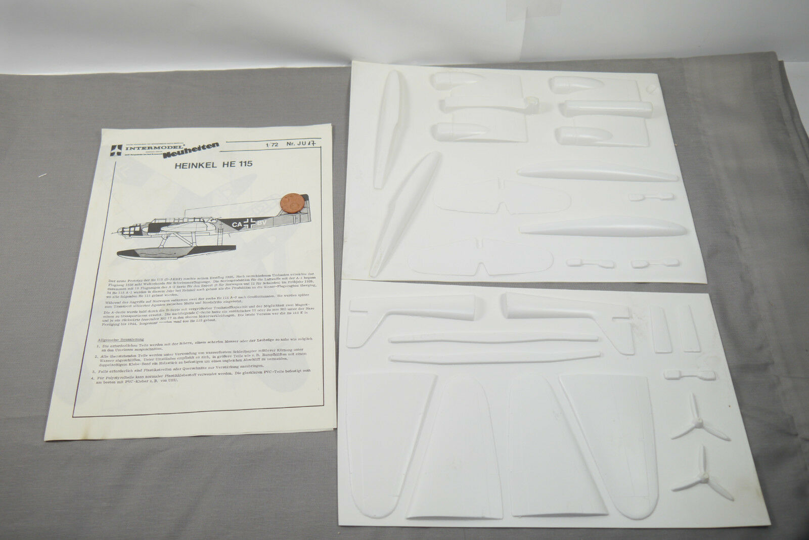 Intermodell Heikel He 115 Vacuum Vacu Set Model Construction Set Aeroplane