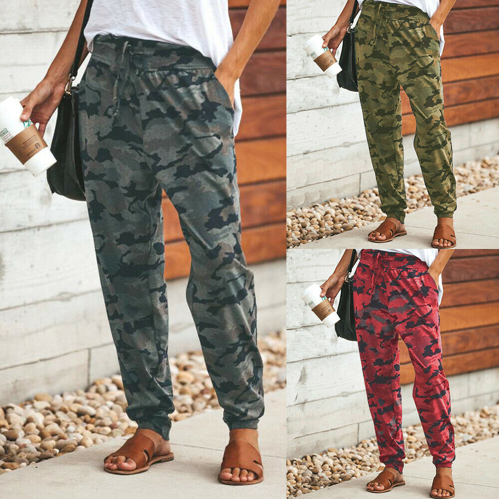 Women Camo Cargo Joggers Trousers Jogging Tracksuit Bottoms