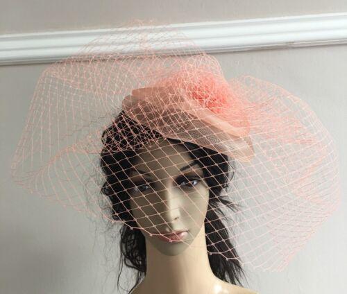coral peach salmon fascinator french veiling veil hair clip wedding hat race