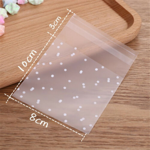 100Pcs//lot Translucent Dots Bag Cookie Packaging Self Adhesive Party Gift Bags