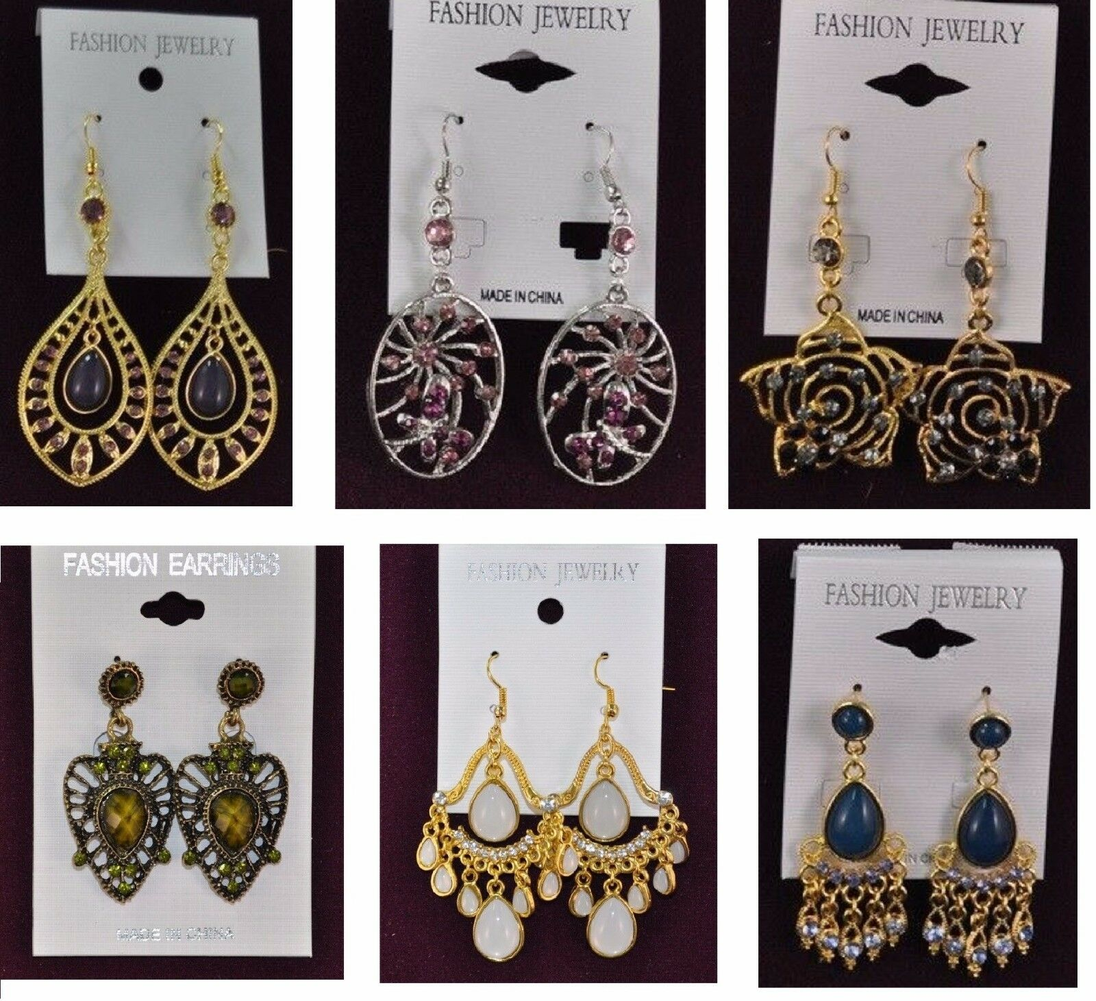 A-89 Wholesale Jewelry lots 100 pairs Mixed Style colorful Drop Fashion Earrings