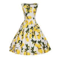 Womens Vintage Floral Print 50s 60s Rockabilly Retro Swing Dress Hepburn Style