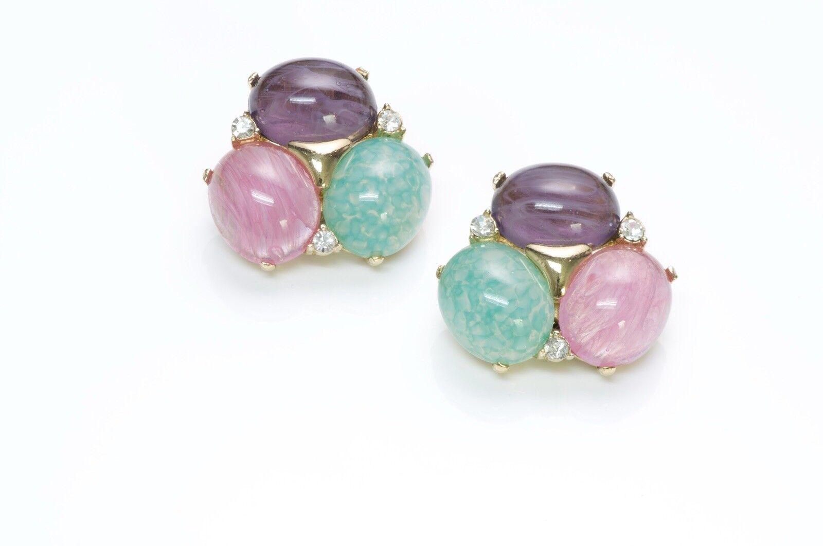 Ciner Multicolord Flower Crystal Earrings