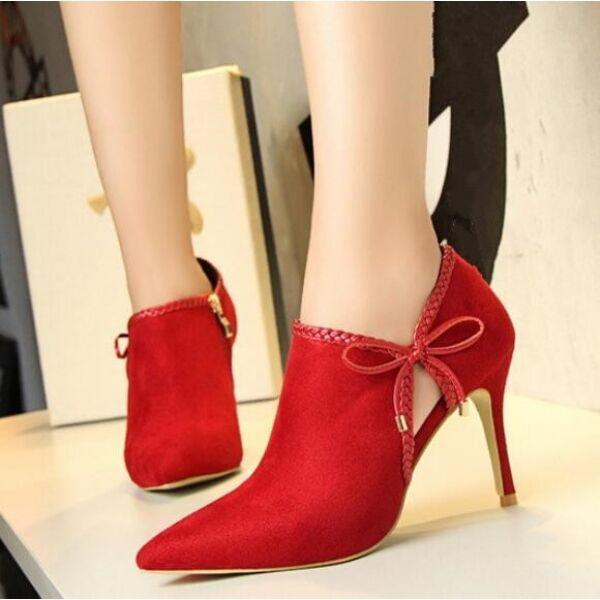 Recortes de precios estacionales, beneficios de descuento Botines botas de mujer verano perforado rojo talón 9 como piel CW010