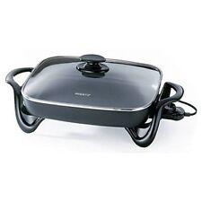 16-Inch Electric Skillet w/ Glass Cover Presto Non Stick Grill Kitchen Fry Pan