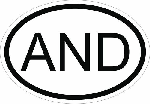 AND ANDORRA COUNTRY CODE OVAL STICKER bumper decal car