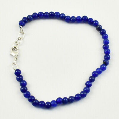 Details about  /60.00 Cts Earth Mined 7 Inches Long Blue Sapphire Round Beads Bracelet JK 36E235