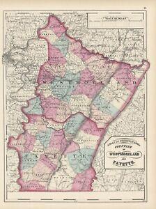 1872-Map-of-Westmoreland-amp-Fayette-Counties-Pennsylvania-Original