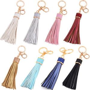 Womens-Leather-Tassels-Keychain-Purse-Bag-Buckle-HandBag-Pendant-KeyringEP