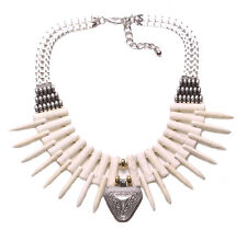 Allison-White Stone & Tooth Stacks/triangle Pendant Statement Necklace(Ns14)