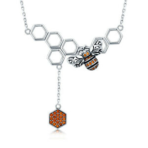 Honeycomb-Fashion-925-Sterling-Silver-Necklace-Chain-with-Bee-CZ-Dangle-Pendant