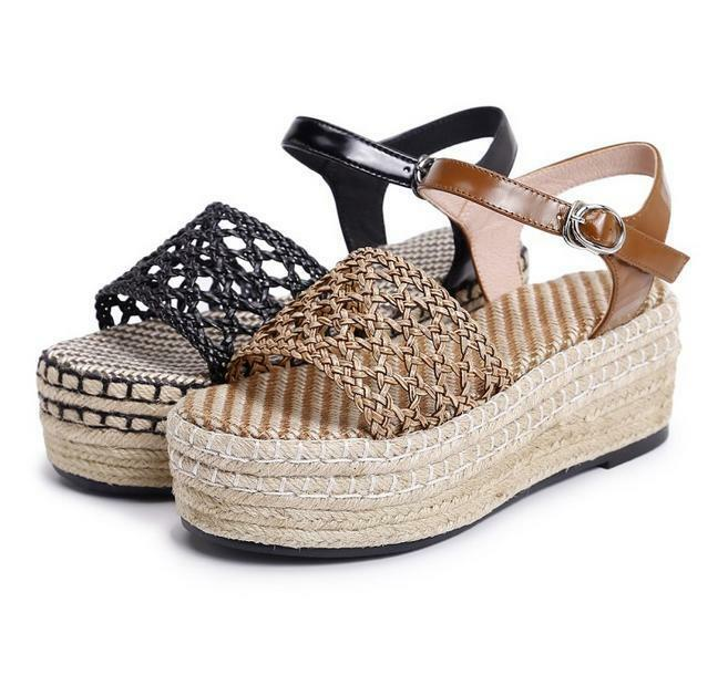 Summer Women Creeper Flat Platform Ankle Strap Cut Out Sandals Shoes Open Toe