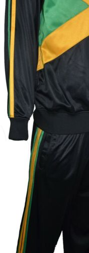 Mens Jamaican Flag Tracksuit Set Collared Top Elasticated Waist Trouser