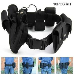 Tactical Police Guard Equipment Belt With 9 Pouches Utility Security System UK.