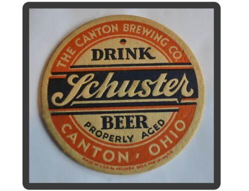 Schuster Beer Coaster Canton OH  Refrigerator Tool Box  Magnet  Man Cave