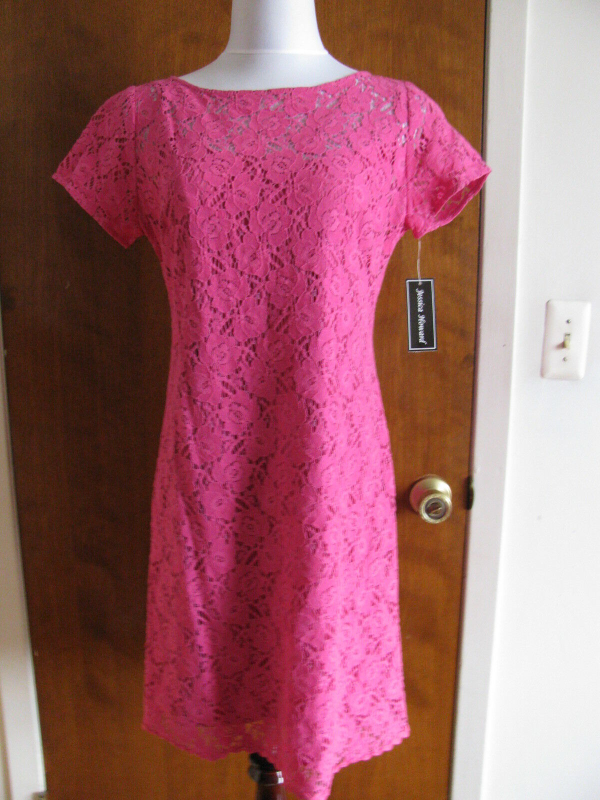 Jessica  Howard Woherren Rosa Lined Fabric Mesh Cotton Dress Sz 14 NWT Tits 12