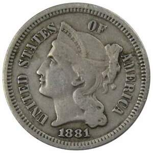 1881 Three Cent Piece VF Very Fine Nickel 3c US Type Coin Collectible