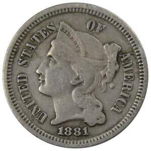 1881-Three-Cent-Piece-VF-Very-Fine-Nickel-3c-US-Type-Coin-Collectible