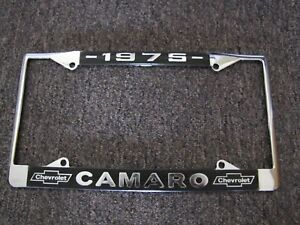 """1975 Chevy /""""Camaro/"""" Chrome License Plate Frame with Year and Chevrolet Bowtie"""