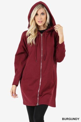 Femmes à manches longues deux Way Zipper sweat à capuche Sweat manteau Poche Haut Tunique PLUS