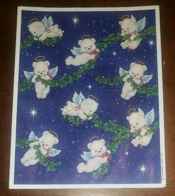 Vintage Heartline Hallmark Cards Angel Teddy Bears sticker sheet