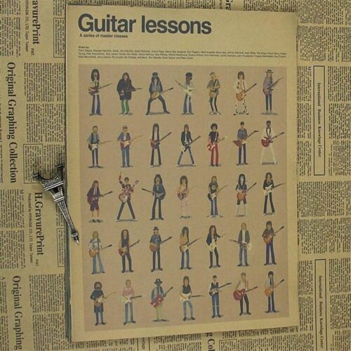 Classic Retro Guitar Lessons Poster Wall Poster Old School Vintage Wallpaper New