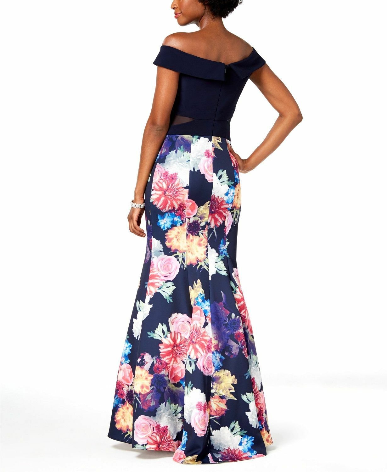 430 XSCAPE WOMENS blueE PINK YELLOW FLORAL SWEETHEART GOWN MERMAID DRESS SIZE 6P