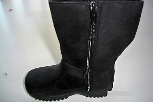 Team-Honey-8-Girl-Faux-Wedge-Mid-Calf-Black-Leather-Winter-Boots-Toddler-Size-9
