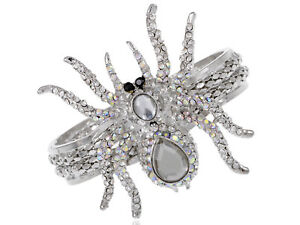 Silver-Alloy-Crystal-Rhinestone-Halloween-Spider-Bangle-Bracelet-Cuff-Jewelry
