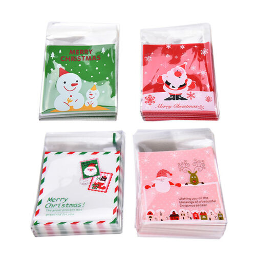 100pcs Christmas Self Adhesive Packing Bags DIY Candy Cookie Biscuits Snack Bag