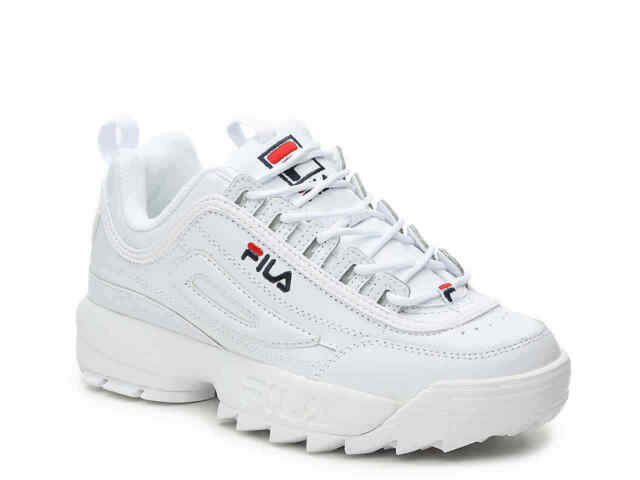 Men FILA Disruptor II Synthetic Fw01655 111 White Navy 100 Authentic 10.5