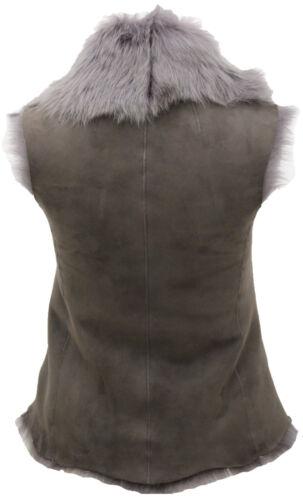 Women/'s Short Luxurious Grey Toscana Shearling Sheepskin Gilet