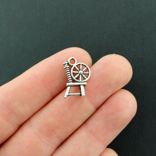 BULK 50 Spinning Wheel Charms Antique Silver Tone SC6021