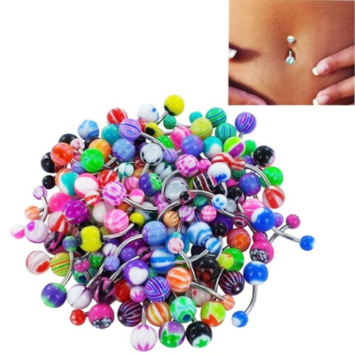 AG/_ 100x Mixed Color Ball Belly Button Navel Rings Barbell Body Piercing Jewelry