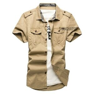 Para-hombres-Informal-Mangas-Cortas-Vestido-de-militar-de-carga-T-shirts-Camisa-Doble-Bolsillos