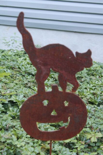 Rusty Jack O/' Lantern Pumpkin with Cat Garden Stake Lawn Ornament Made in USA