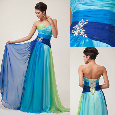 STOCK Long Chiffon Sexy Evening Bridesmaid Prom Graduation Gown Club Party Dress