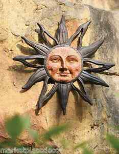 Sun Face Celestial Rust Free Cast Aluminum Indoor Outdoor Garden Wall Plaque