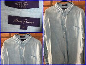 Alan-Flusser-Blue-L-S-Btn-Front-Casual-Camp-Summer-Shirt-Mens-XL-Linen-Slubby