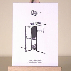 simple-London-West-End-stage-door-drawing-ACEO-Art-Card-Prince-Edward-Theatre