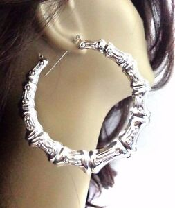 Image Is Loading Extra Large Bamboo Hoop Earrings Plated Silver Tone