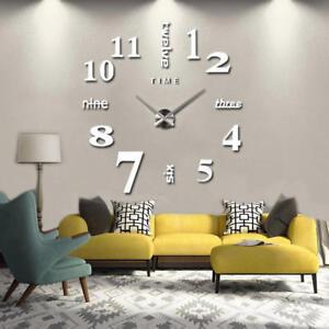 Das Bild Wird Geladen Wanduhr XL Deko Spiegel Edelstahl Uhr Wandtattoo Wand