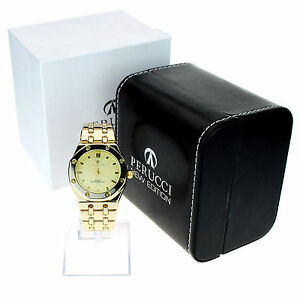 Image Is Loading Perucci Mens Luxury Gold Metal 3 Bar Water
