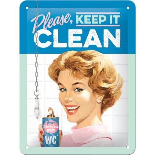 Please Blechschild 26211 Neu Keep It Clean 15X20 cm