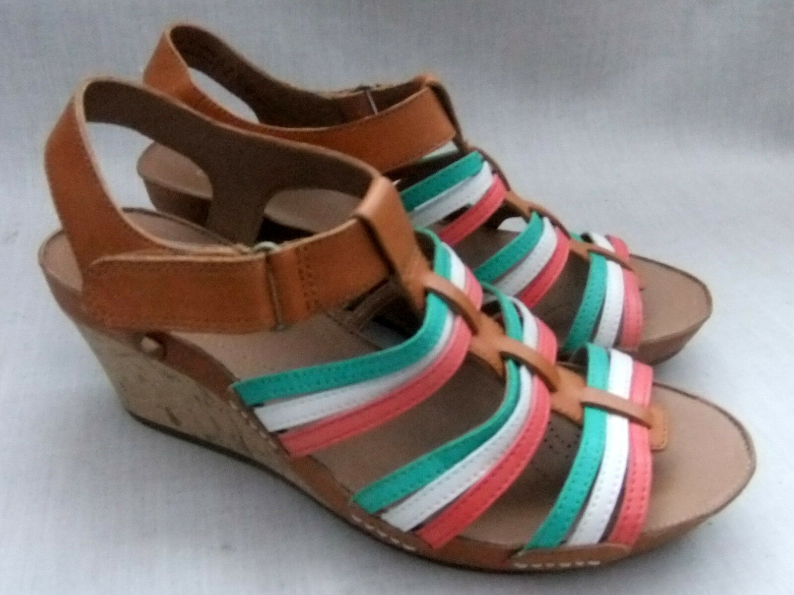 NEW CLARKS RUSTY LADY femmes TAN MULTI LEATHER WEDGE SANDALS Taille 6.5   40