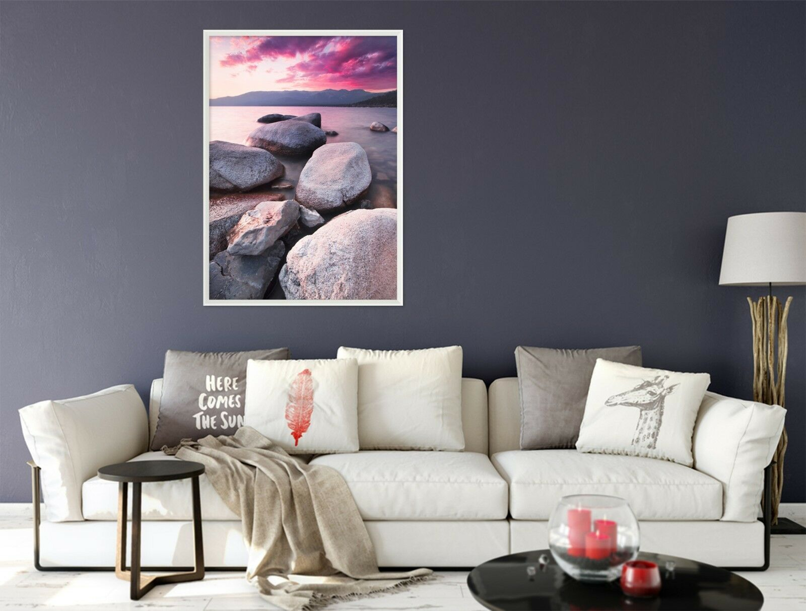 3D Pink Stone 47 Framed Poster Home Decor Print Painting Art AJ UK