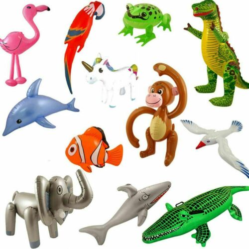 Kids Blow Up Inflatable Animals Childs Jungle Party toys Book Week day Accessory